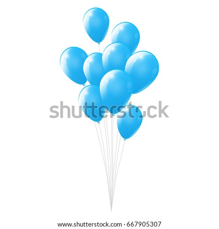 White background with blue balloons, glossy balloons