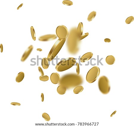 White background with falling gold coins. Vector money illustration.