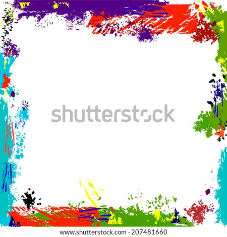 white background with frame of ink spots. Vector  - stock vector