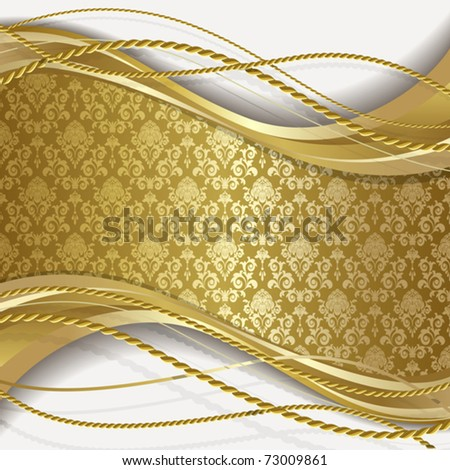 White background with gold flowers and leaves - stock vector
