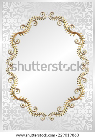 white background with golden frame - stock vector