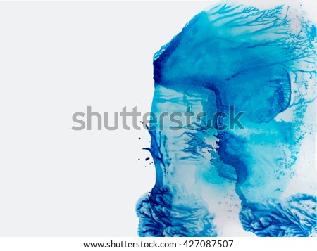 white background with hand drawn blue ink structure