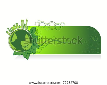 white background with isolated go green concept banner, illustration - stock vector