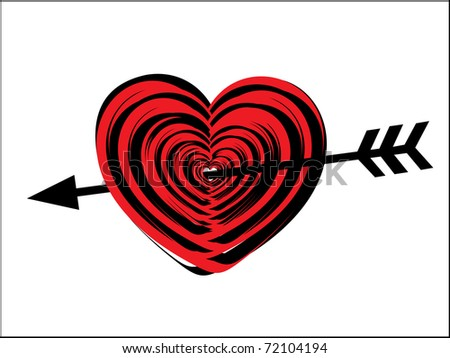 white background with isolated romantic red heart, illustration - stock vector