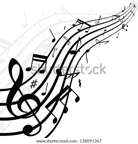 White background with music notes. eps10