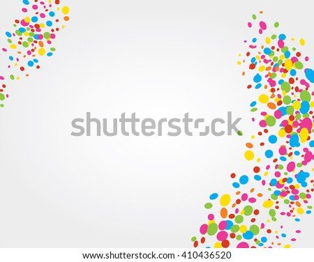 White background with ornaments of colored dots creating waves