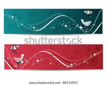white background with set of two new year header - stock vector