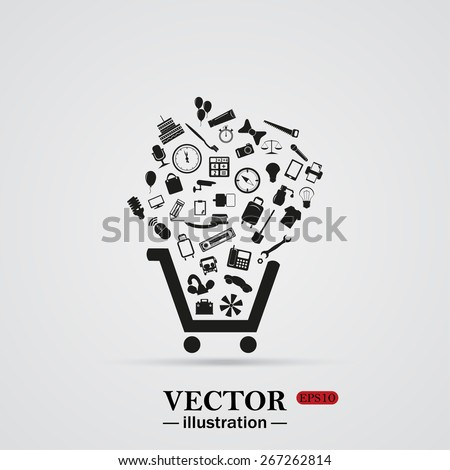White background with shadow.  Set of icons. Put into shopping cart. Great buy. Cart of goods. Supermarket, web icon. vector design - stock vector