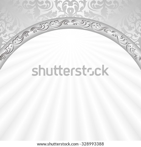 white background with silver ornaments - stock vector