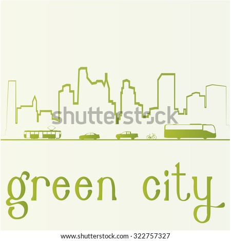White background with text and a green skyline