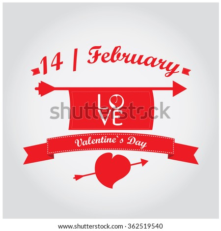White background with text and a ribbon for valentine's day