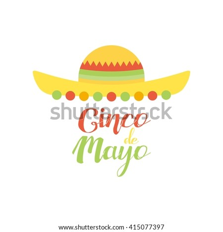 White background with text and traditional elements for cinco de mayo celebrations
