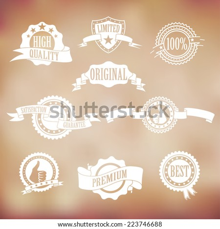 white badges and ribbons on vintage background - stock vector