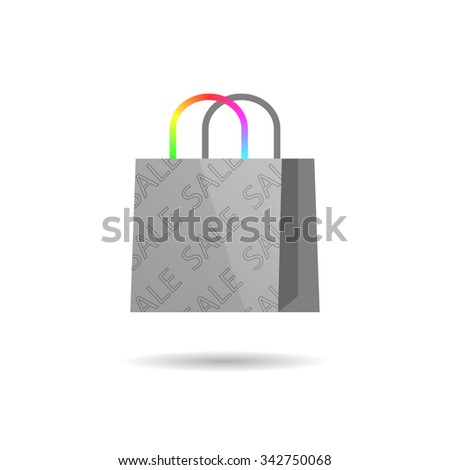 White bag with colored handles, sale