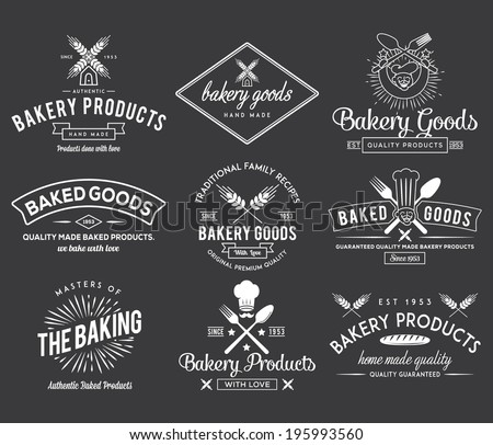 White bakery vector badges for any use - stock vector