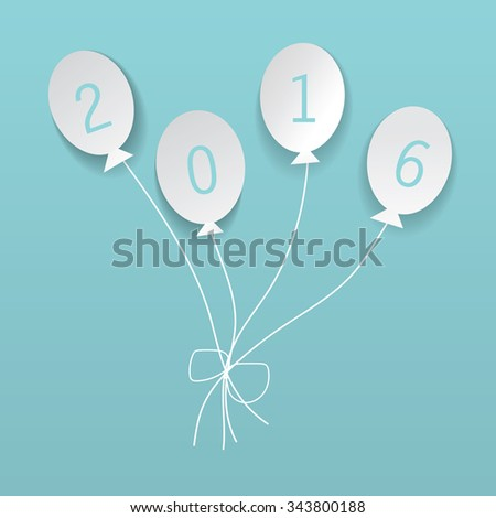 White balloons with 2016 text - Vector