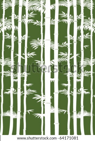 white bamboo on green background - stock vector