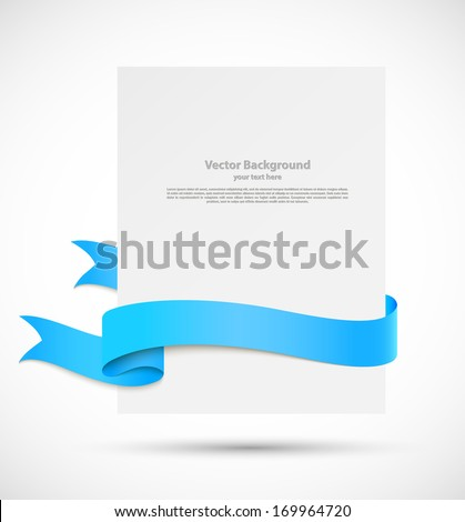 White banner with blue ribbons - stock vector