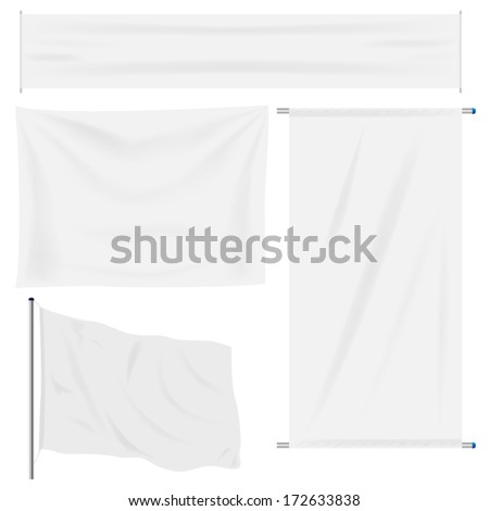 White banner with folds, separate shadows to be used on any color - stock vector