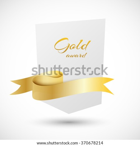 White banner with golden ribbon vector illustration