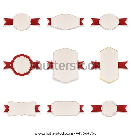 White Banners with red Ribbons Set