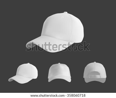 White baseball cap mockup set, vector eps10 illustration on dark background - stock vector