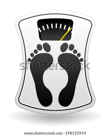 White bathroom scale. Diet concept. Vector icon. - stock vector