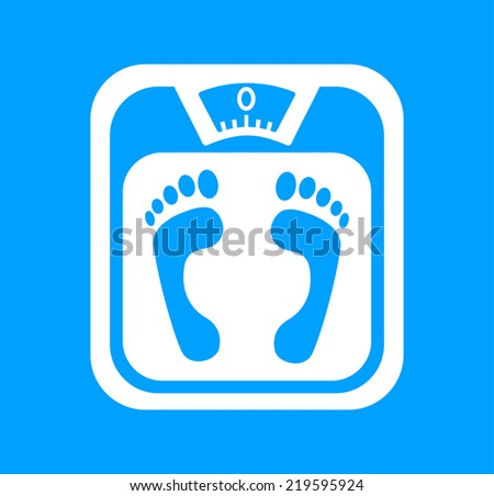 White bathroom scale on blue background