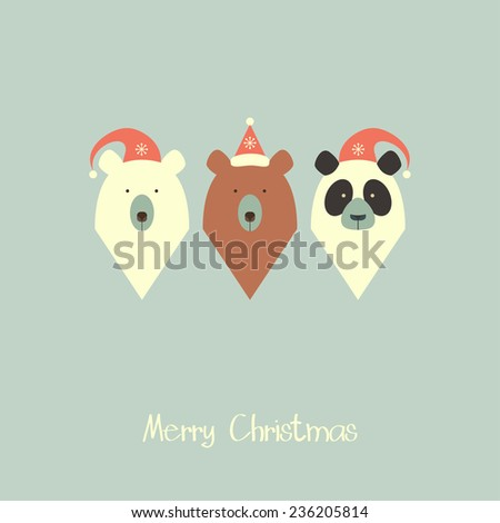 White bear, brown bear and panda. Merry christmas card - stock vector
