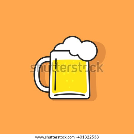 White beer glass with foam vector icon, concept of pub logotype, beer drink bar symbol, abstract pub sing, beer mug flat outline linear logo template, trendy cartoon design illustration isolated - stock vector