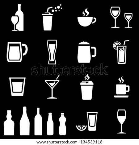 White beverages icons on black background