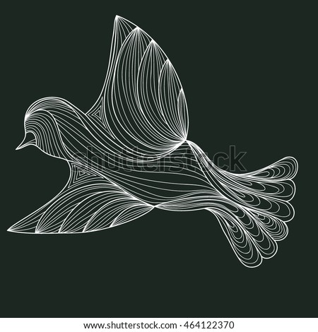 White bird on a dark background. contour of the lines. zenart stylized. doodle outline