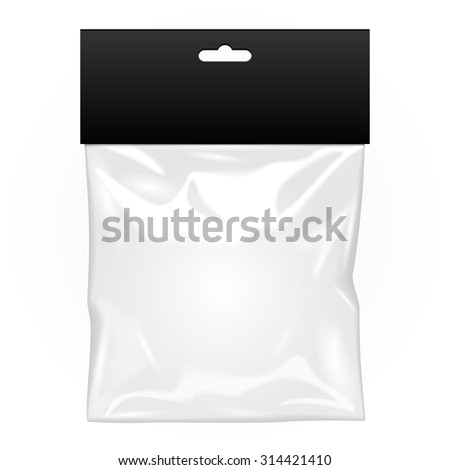 White Black Blank Plastic Pocket Bag With Shadow. Transparent. With Hang Slot. Illustration Isolated On White Background. Mock Up Template Ready For Your Design. Vector EPS10 - stock vector