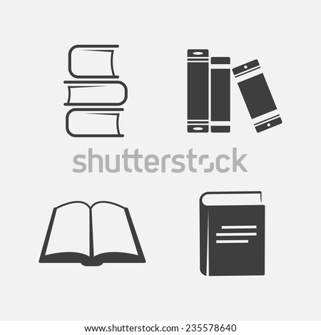 White-black book icons set (four pieces). Isolated on white background. Vector illustration, eps 8. - stock vector