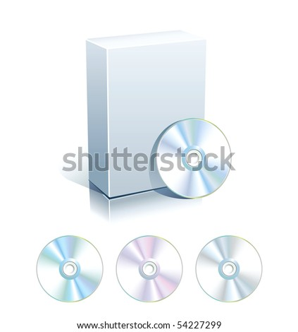 White blank box with set of CD,DVD disks.Vector. - stock vector