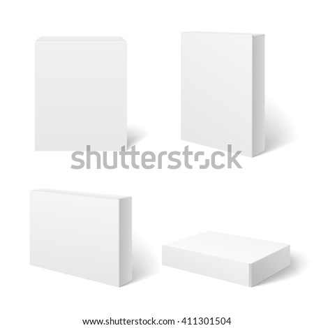 White blank cardboard package box in different positions. Vector template. Cardboard box template, box package,  box container illustration - stock vector