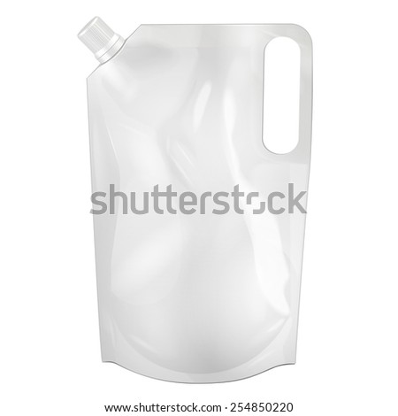 White Blank Doy-pack, Doypack Foil Food Or Drink Bag Packaging With Corner Spout Lid. Illustration Isolated On White Background. Mock Up Template Ready For Your Design. Vector EPS10 - stock vector