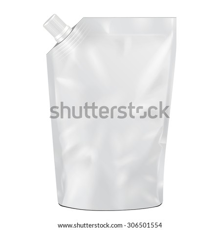 White Blank Doy-pack, Doypack Foil Food Or Drink Bag Packaging With Corner Spout Lid. Illustration Isolated On White Background. Mock Up Template Ready For Your Design. Product Packing Vector EPS10 - stock vector