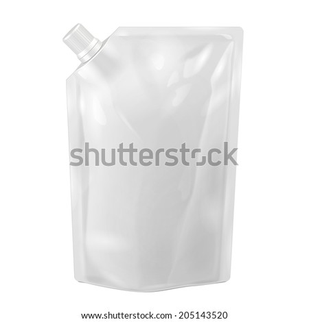 White Blank Doy-pack, Doypack Foil Food Or Drink Bag Packaging With Corner Spout Lid. Plastic Pack Template Ready For Your Design. Vector EPS10 - stock vector