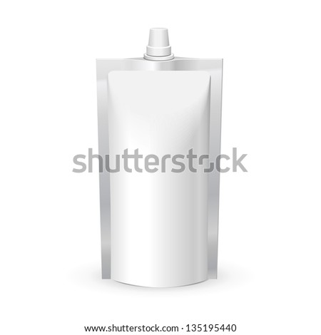 White Blank Doy Pack, Doypack Foil Food Or Drink Bag Packaging With Lid. Plastic Pack Template Ready For Your Design. Vector EPS10 - stock vector