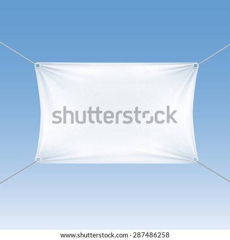 White Blank Empty Horizontal Rectangular Banner with Corners Ropes. Textile, Fabric or Nylon with Folds. Vector Illustration Isolated on Blue Background. Ready Template for Your Logo, Text and Design