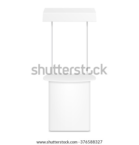 White Blank Empty Retail Stand Stall Bar Display With Banner. On White Background Isolated. Mock Up Template Ready For Your Design. Product Packing Vector EPS10