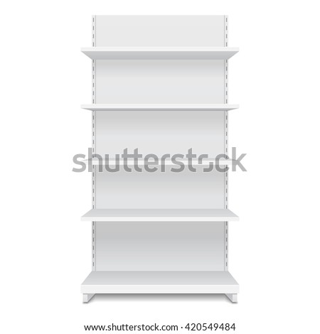 White Blank Empty Showcase Display With Retail Shelves. Front View 3D. Illustration Isolated On White Background. Mock Up Template Ready For Your Design. Product Packing Vector EPS10