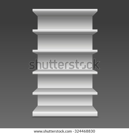 White Blank Empty Showcase Displays With Retail Shelves , dark grey Background Isolated. - stock vector