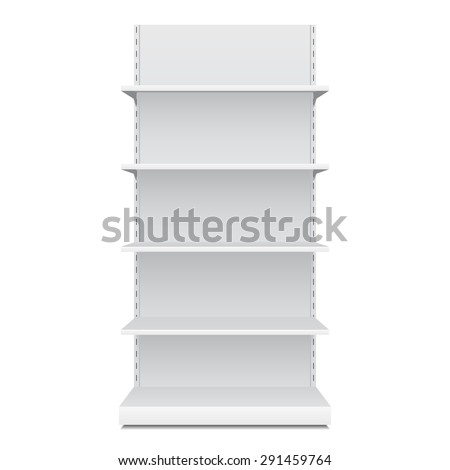White Blank Empty Showcase Displays With Retail Shelves Front View 3D Products On White Background Isolated. Ready For Your Design. Product Packing. Vector EPS10
