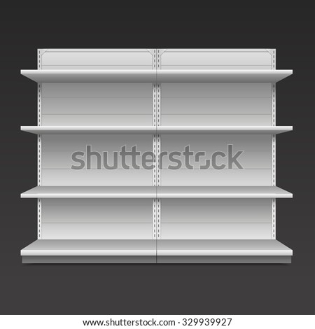 White Blank Empty Showcase Displays With Retail Shelves Front View 3D ,Products On White Background Isolated.