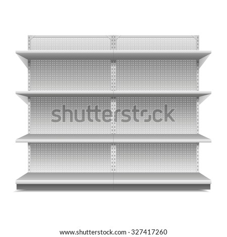 White Blank Empty Showcase Displays With Retail Shelves , White Background Isolated.