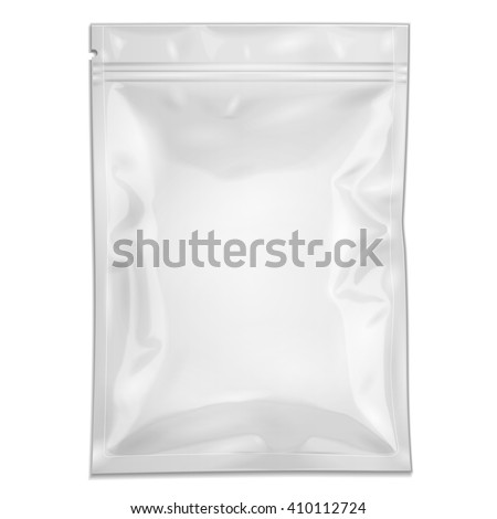 White Blank Filled Retort Foil Pouch Bag Packaging With Zipper. For Medicine Drugs Or Food Product. Illustration Isolated On White Background. Mock Up Template Ready For Your Design. Vector EPS10 - stock vector