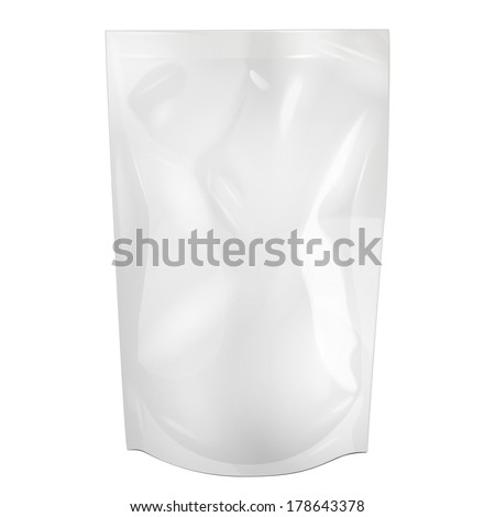 White Blank Foil Food Or Drink Doypack Bag Packaging. Illustration Isolated On White Background. Mock Up, Mockup Template Ready For Your Design. Vector EPS10