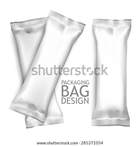 White Blank Foil Food Snack Pack For Biscuit, Wafer, Crackers, Sweets, Chocolate Bar, Candy Bar, Snacks Etc. Plastic Pack Template For Your Design and Branding. Vector